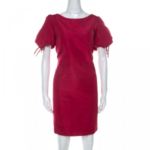 RED Valentino Raspberry Red Tonal Jacquard Puff Sleeve Dress L - used