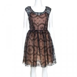 RED Valentino Black Floral Burnout Organza Short Dress S - used