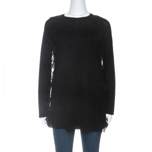 RED Valentino Black Wool Ruffle Trim Detail Long Sleeve Top M