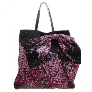 RED Valentino Multicolor Nylon and Leather Trimmed Bow Decorated Tote