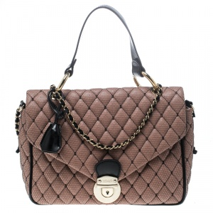 Red Valentino Peach Pink/Black Quilted Faux Leather and Lace Top Handle Shoulder Bag