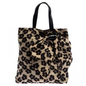 RED Valentino Black/Beige Leopard Print Nylon Bow Tote