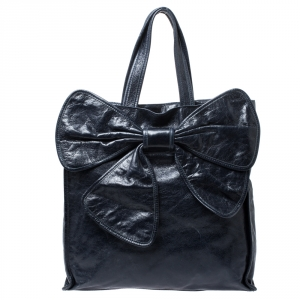 Red Valentino Navy Blue Crinkled Leather Bow Tote bag