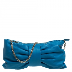 Red Valentino Blue Leather Bow Clutch Bag
