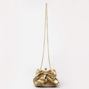 RED Valentino Gold Leather 'Studded Bow' Framed Shoulder Bag