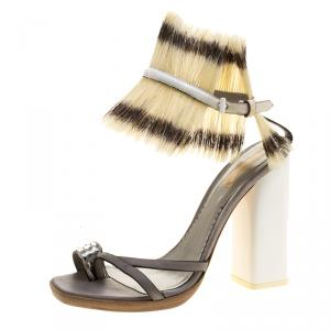 Reed Krakoff Grey/Biege Leather and Boar Hair Ankle Cuff Sandals Size 37.5