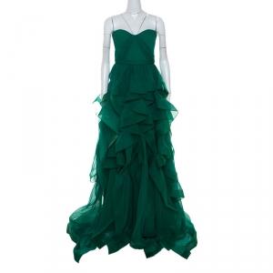 Reem Acra Green Chiffon Silk Layered Ruffle Strapless Gown M used