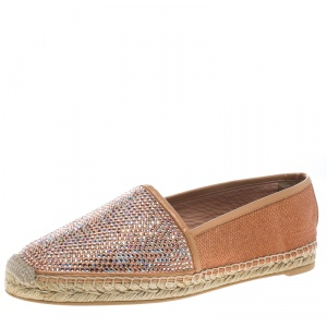 René Caovilla Peach Pink Canvas and Crystal Embellished Satin Espadrille Size 41