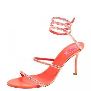 René Caovilla Coral Orange Satin Crystal Embellished Ankle Wrap Open Toe Sandals Size 41