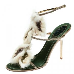 René Caovilla Beige Fur And Crystal Embellished Strappy Sandals Size 38