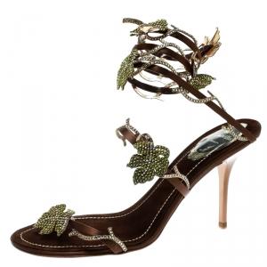 René Caovilla Brown Satin Crystal Embellished Vine Ankle Wrap Open Toe Sandals Size 38.5
