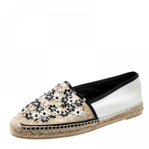 Rene Caovilla Monochrome Lace And Leather Floral Embellished Espadrilles Size 41