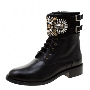 Rene Caovilla Black Leather And Crystal Embellished Suede Combat Boots Size 39.5
