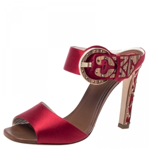 Rene Caovilla Red Satin Embellished Buckle Sandals Size 37.5 - used
