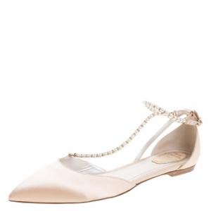 Renè Caovilla Beige Satin Faux Pearl Ankle Wrap Pointed Toe Flats Size 40.5 - used
