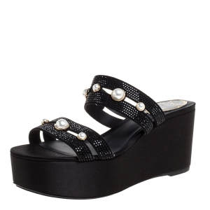 René Caovilla Black Crystal Embellished Suede Leather Lucia Wedge Platform Sandals Size 37 -