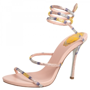 René Caovilla Beige Leather Crystal Embellished Ankle Wrap Sandals Size 39