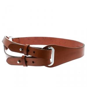 Ralph Lauren Brown Leather Tri Strap Belt Size 90 CM