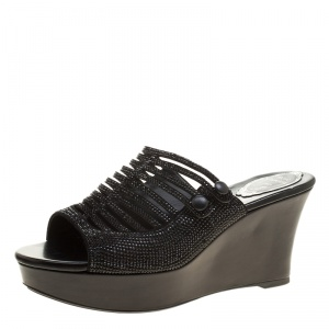 René Caovilla Black Crystal Embellished Wedge Slides Size 38