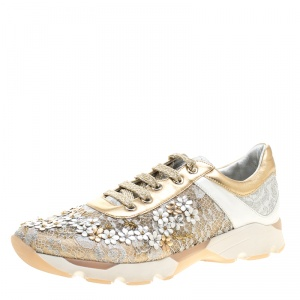 Rene Caovilla Beige/White Lace Flower Embellished Lace Up Sneakers Size 38