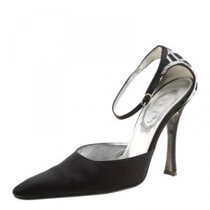 René Caovilla Black Satin Crystal Embellished Pointed Toe Ankle Strap Sandals Size 38