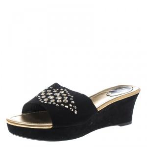 René Caovilla Black Suede Crystal Embellished Wedge Slides Size 42