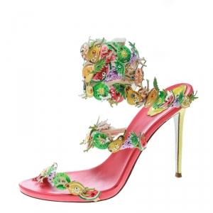 René Caovilla Multicolor Leather Fruit Applique Ankle Wrap Sandals Size 40