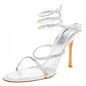René Caovilla Metallic Silver Crystal Embellished Ankle Wrap Sandals Size 41