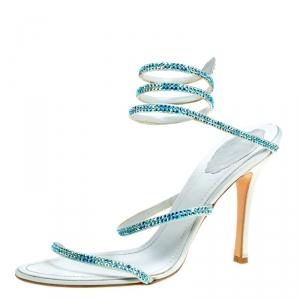 Rene Caovilla Metallic Blue Crystal Embellished Ankle Wrap Sandals Size 40
