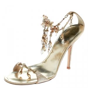 René Caovilla Metallic Gold Suede Crystal Embellished Anklet Open Toe Sandals Size 39.5