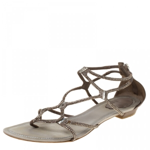 René Caovilla Dark Beige Crystal Embellished Leather Gladiator Flat Sandals Size 40 - used