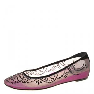 Rene Caovilla Black/Purple Crystal Embellished Mesh Ballet Flats Size 38.5