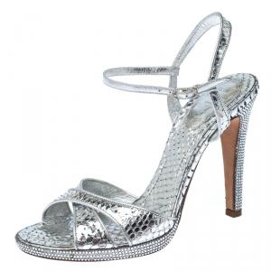 Rene Caovilla Silver Crystal Embellished Snakeskin Open Toe Crisscross Ankle Strap Sandals Size 38 - used