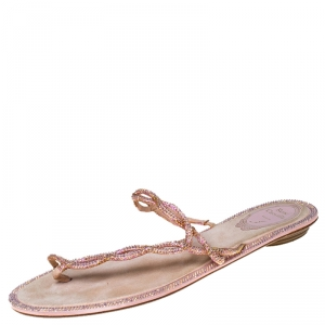 Rene Caovilla Pink Crystal Embellished Thong Flat Sandals Size 41 - used