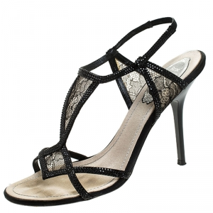 René Caovilla Black Lace And Satin Crystal Embellished Open Toe Slingback Sandals Size 37 - used