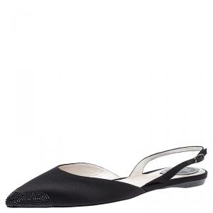 Rene Caovilla Black Crystal Embellished Satin Operina Slingback Flats Size 40