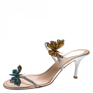 René Caovilla Multicolor Lame Fabric And Lace Butterfly Crystal Embellished Slide Sandals Size 39