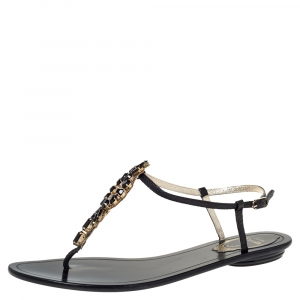 René Caovilla Black Leather Crystal Embellished Flat Ankle Strap Thong Sandals Size 37.5 - used