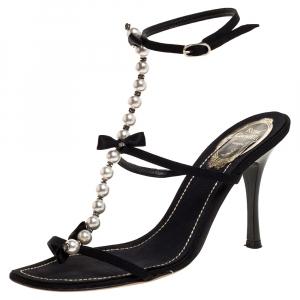 Rene Caovilla Black Canvas Pearl T Strap Sandals Size 37 - used