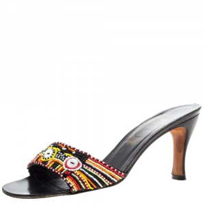 René Caovilla Multicolor Pearl Beaded Open Toe Sandals Size 37 - used