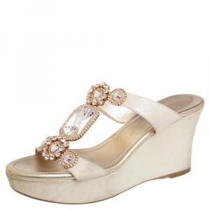 Rene Caovilla Gold Glitter Nubuck Embellished Wedge Platform Slide Sandals Size 37
