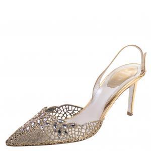 René Caovilla Gold Crystal Embellished Macrame Lace And Leather Slingback Sandals Size 38