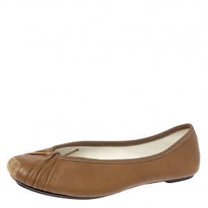 Repetto Brown Pleated Leather Bow Square Toe Ballet Flats Size 39 -