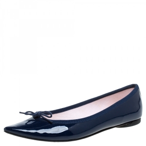 Repetto Blue Patent Leather Brigitte Pointed Toe Ballet Flats Size 37 - used