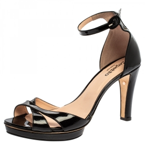 Repetto Black Patent Leather Ankle Strap Sandals Size 39.5 - used