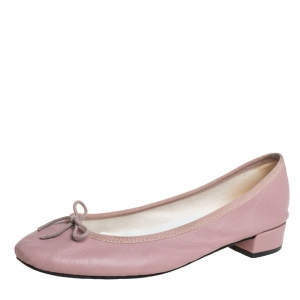 Repetto Beige Leather Bow Embellished Ballet Flats Size 39