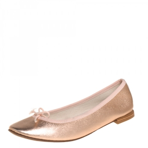 Repetto Metallic Gold Leather Bow Ballet Flats Size 37 - used