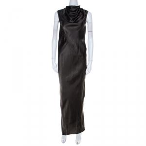 Rick Owens Dark Dust Grey Draped Satin Sleeveless Maxi Dress S - used