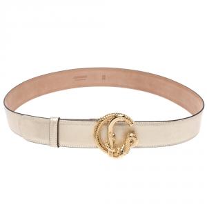 Roberto Cavalli Metallic Gold Leather Snake Buckle Belt 95CM