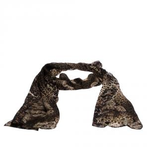 Roberto Cavalli Brown Leopard Snake Print Silk Scarf